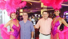 Tony, Chuck & Vegas showgirls at Wild Rose Aug 7 - CROPPED