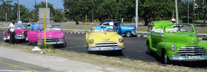Cool classic taxis at Revolutionary Plaza in Havana.JPG