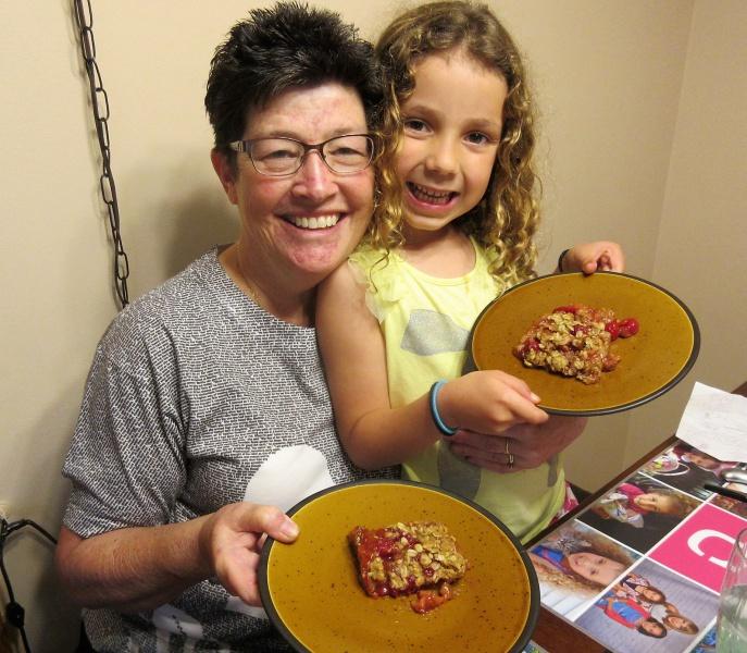 May Carla & casey with rhubarb-cherry crisp.JPG