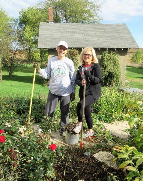 Carla & Karen gardening Oct 4.JPG