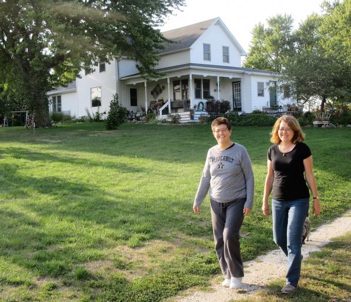 Carla & Nancy Teusch on first walk at home on Sept 8.JPG