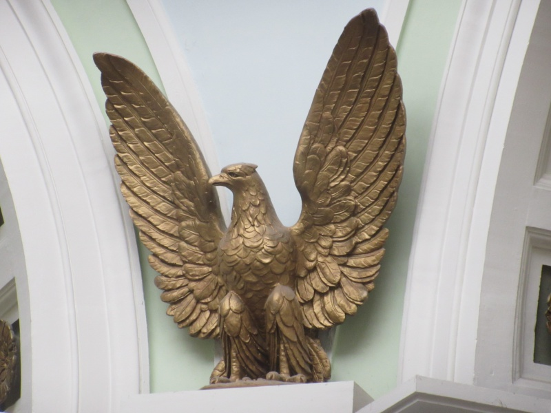 One of four eagles high up in rotunda Jan 26.JPG