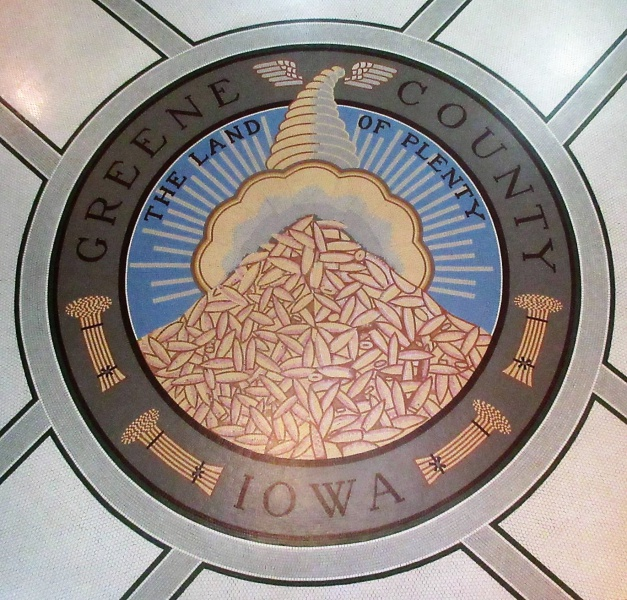 Best yet of county seal in rotunda floor Oct 17.JPG