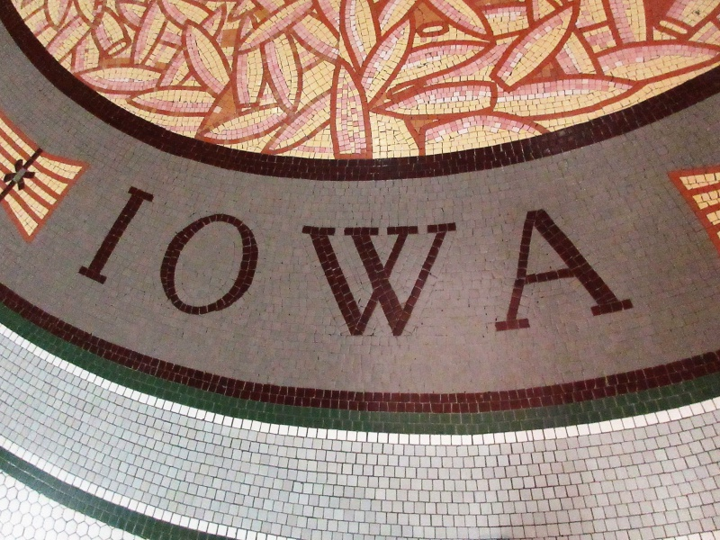 Iowa in mosaic in rotunda floor.JPG