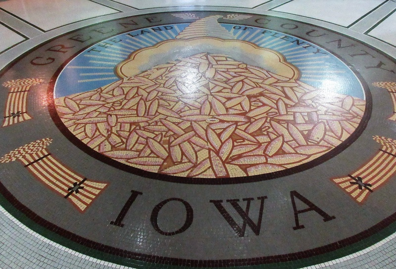 County seal done with mosaic tile in courthouse rotunda.JPG