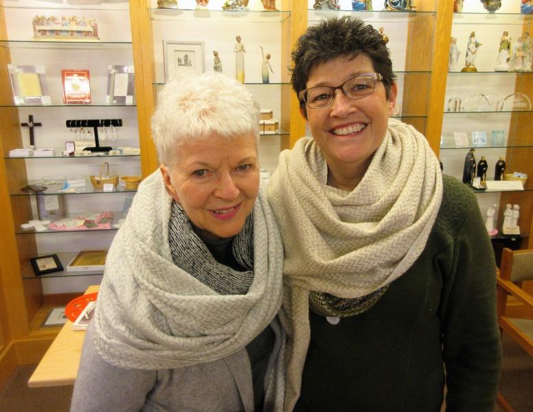 Mary & Carla in new prayer shawls from New Melleray Abbey.JPG