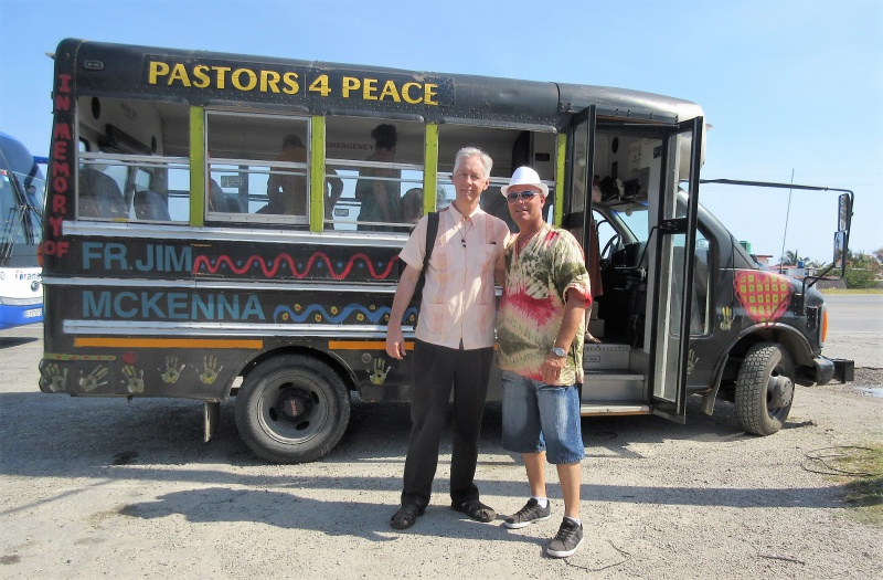 Guide Stan Dotson & driver Sixto Espino on break enroute to Matanzas in Pastors 4 Peace bus.JPG