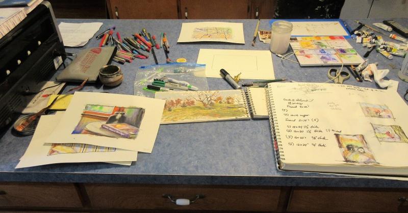 Sketchbooks & water colors.JPG