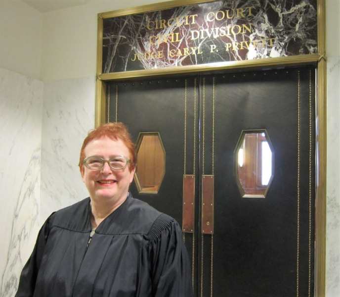 Judge Privett outside her courtroom.JPG