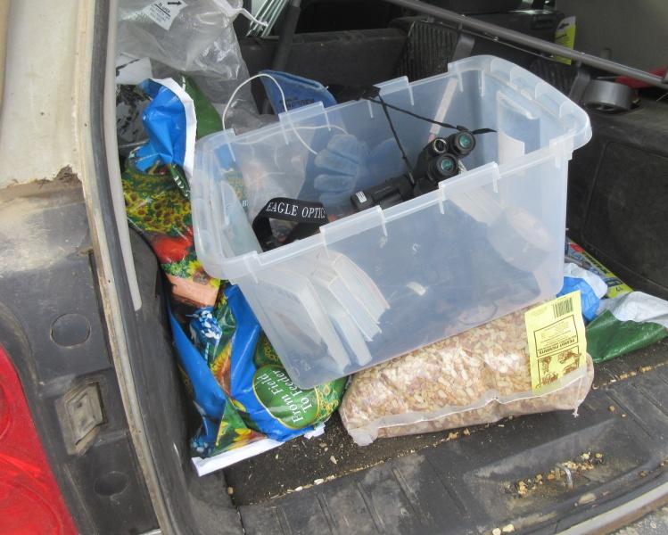 A birder's car trunk.JPG