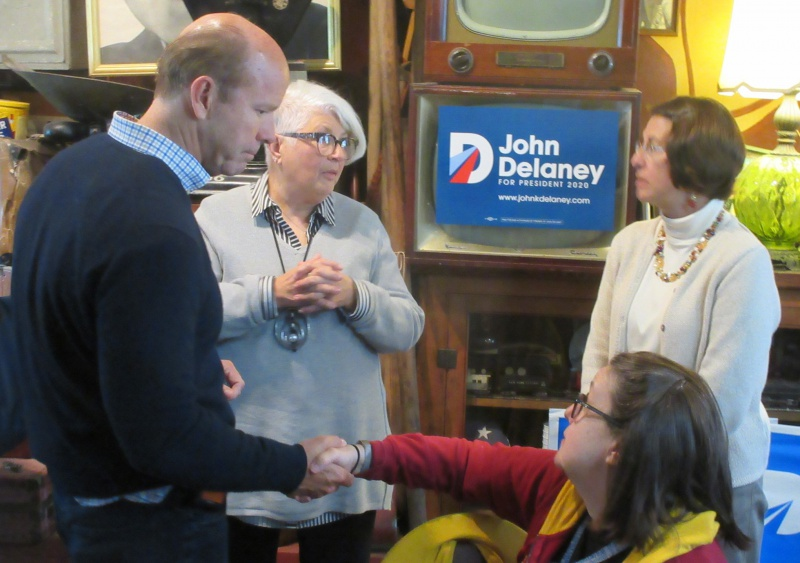 Delaney meets people in the audience.JPG