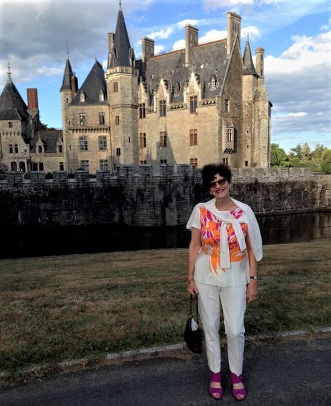 Harriet outside the castle in western France.jpg