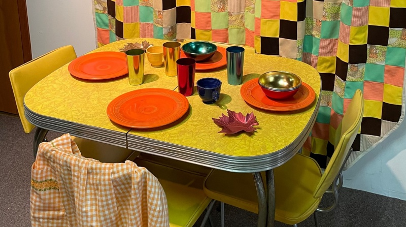 Formical table & Fiestaware dishes, aluminum cups & bowls CROPPED.jpg