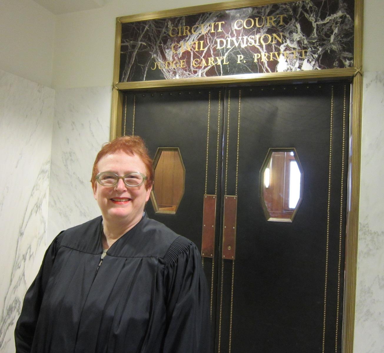 Judge Privett outside her courtroom.JPG