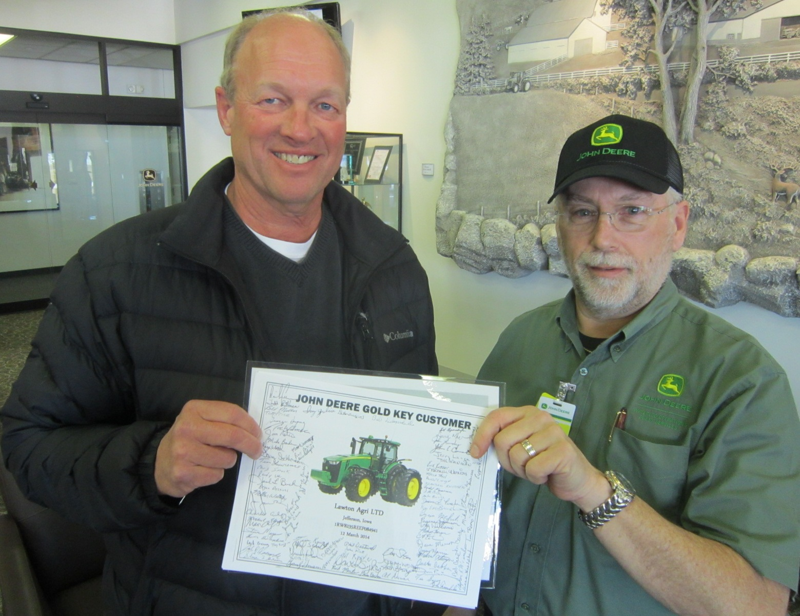 Doug Lawton Gary Vick Certif Signed by Tractor Building Team.JPG
