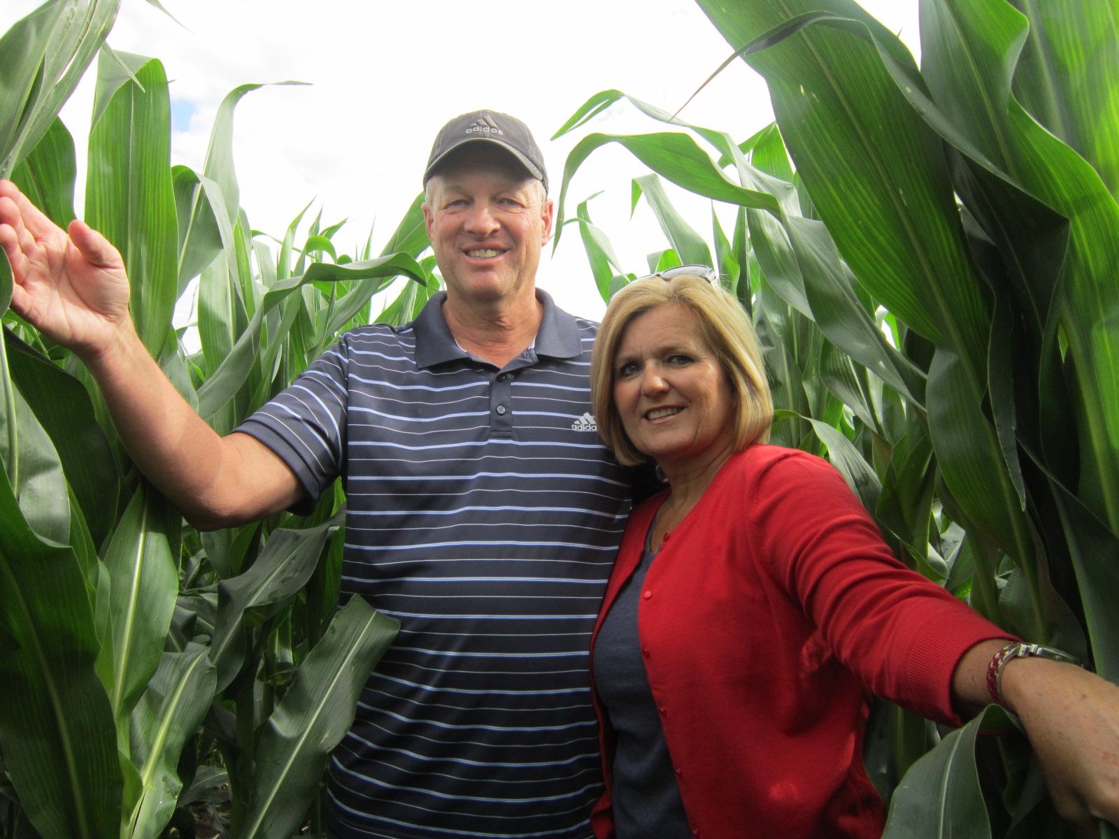 Doug & Karen Lawton in corn from below July 3 2014.JPG