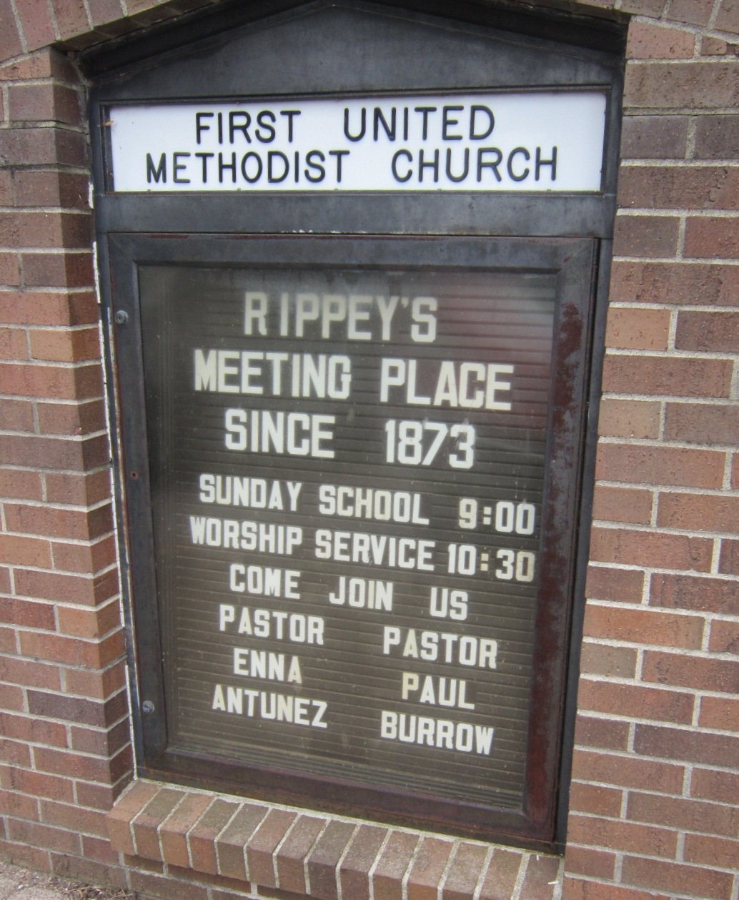 Rippey Methodist Church Sign Meeting Place.JPG