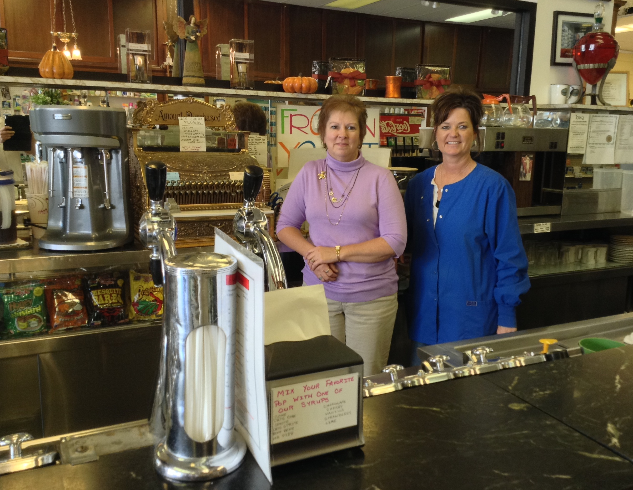 Donna Robison & Annie Van Houten at soda fountain 2.JPG
