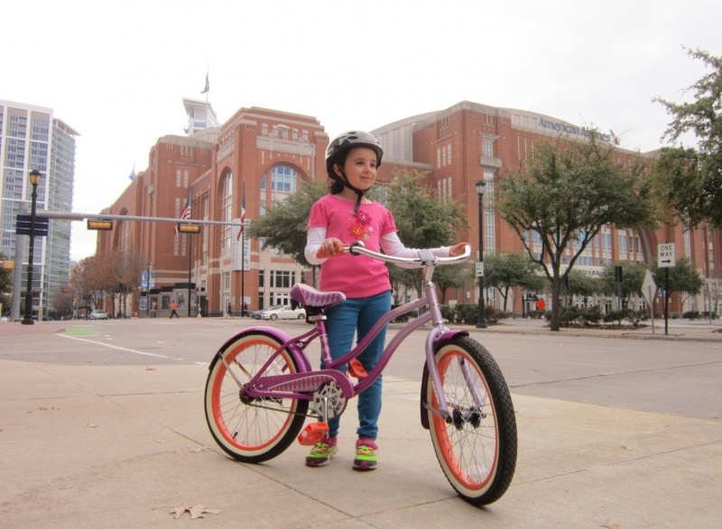 Lindsay bikes into downtown on KATY Trial March 12 2015.JPG