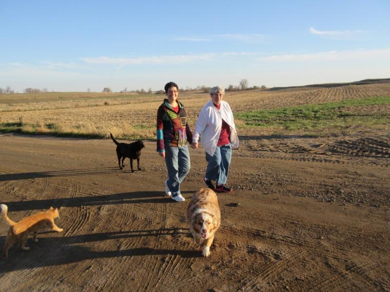 Carla & Suesy & livestock on a walk Nov 6.JPG