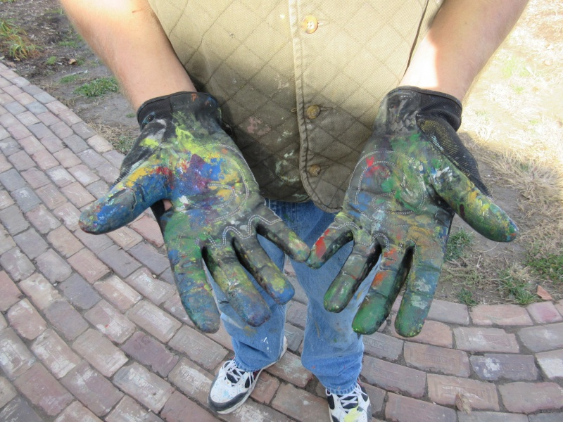 8 Jones in his paint covered gloves.JPG