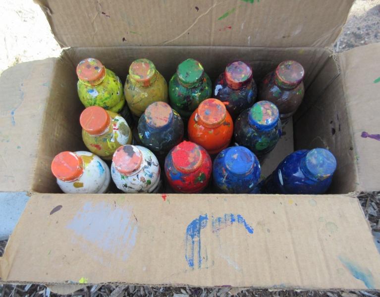 6 Jones paints in old Gatorade bottles.JPG