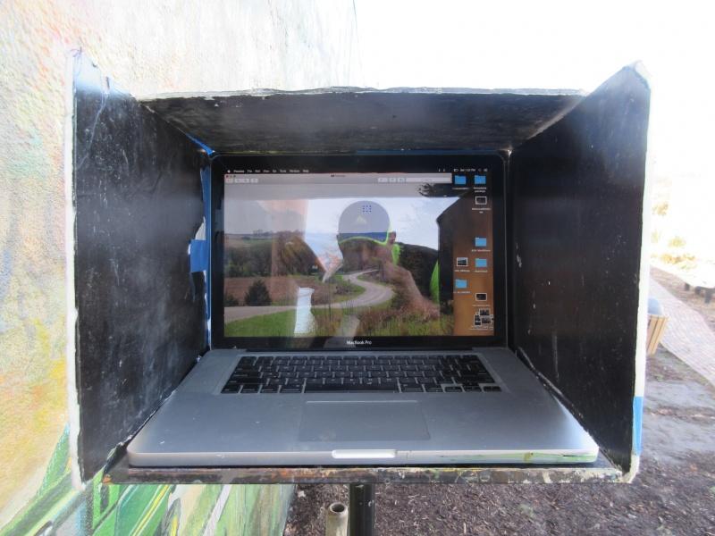 5 Jones shadowbox for his laptop at mural site.JPG