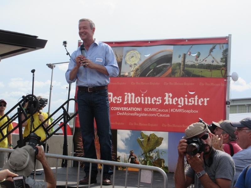 Malley during speech at Iowa State Fair Aug 13.JPG
