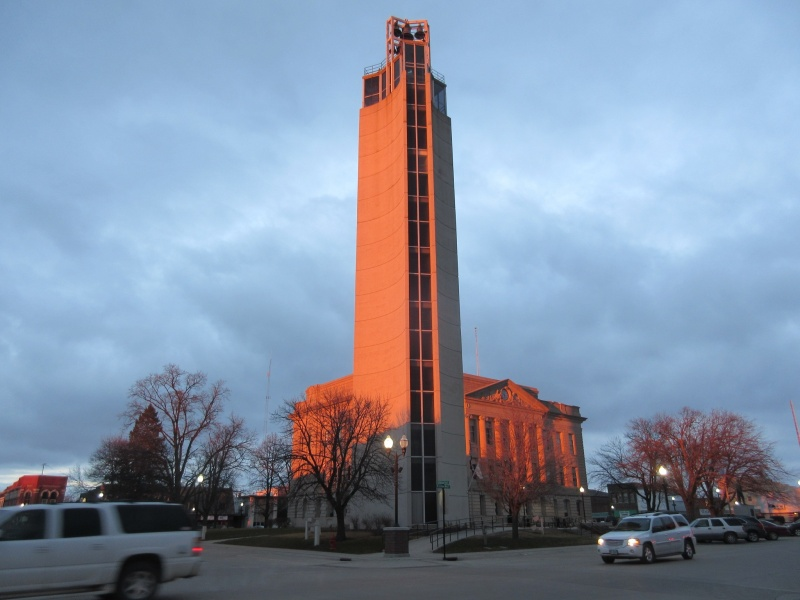 Bright late sun on tower & courthouse.JPG